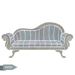 Watercolor vector vintage sofa