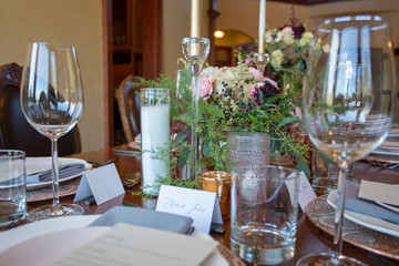 Table set with fresh flowers