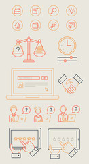Infographics online advocacy set icons and objects