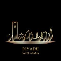 Gold silhouette of Riyadh on black background