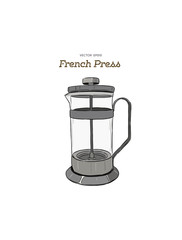 French-press. coffee maker hand draw vector.