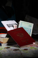 International passport, tickets and money prepared for a journey