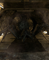 3d illustration of  a giant monster spider in abandoned scifi tunnel,3d fantasy art for book cover,book illustration