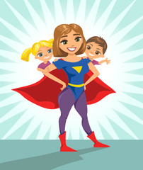 Super hero, super mom. Happy smiling super mother with her children. Vector illustration with isolated characters.