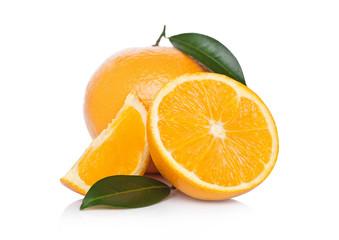 Fresh organic raw oranges with peeled halves