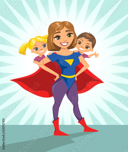 Super hero, super mom  Happy smiling super mother with her