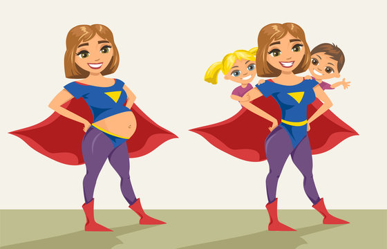 Super hero, super mom pregnant. Happy smiling super mother with her children. Vector illustration with isolated characters.
