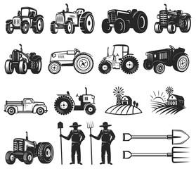 Set of farmers market design elements. Tractor icons. Design elements for logo, label, emblem, sign, badge.