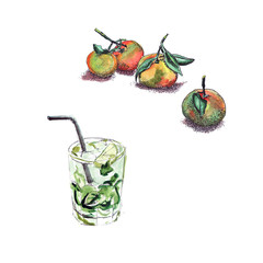 Bright and juicy mandarins with watercolors and a pointe and cool juicy cooling cocktail mojito with watercolor