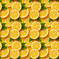 Orange fruit seamless pattern. Sliced pieces citrus with leaves and water drop. Vector illustration.