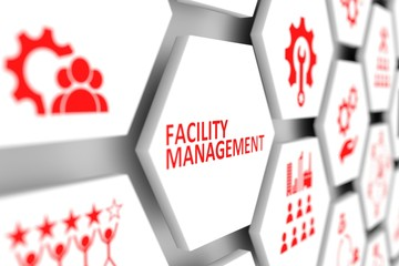 Facility management concept cell blurred background 3d illustration