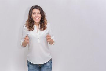 beautiful  girl on a white background in different poses