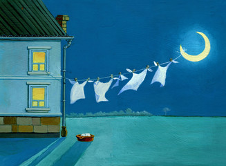 surreal spread out laundry on the moon acrilic art work dream n the night with moon