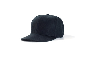Black fashion and baseball cap isolated on white background.