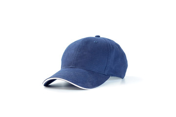 Blue fashion and baseball cap isolated on white background.