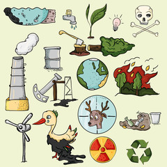 set of design elements on the subject of environmental pollution of the earth