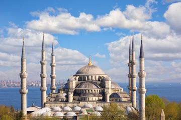 Blue Mosque or Sultanahmet Camii with Bosporus and Marmara Sea, Istanbul