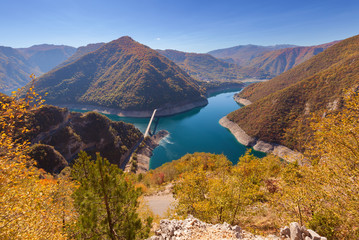 Mountain landscape panorama in canyon of river Piva at Montenegro