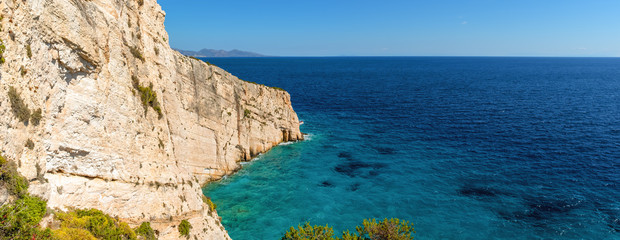 Panoramic view of beautiful cliff and blue sea near Skinari cape on Zakynthos island. Greece.