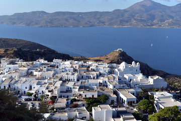 Plaka Town in Milos Island with the first light of the sun, Greece