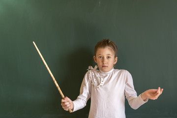 The child can not solve the problem in the school near the board. A hard day at school