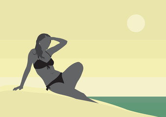 Girl in swimsuit on the beach. Girl in a black bathing suit on a background of the sea landscape.