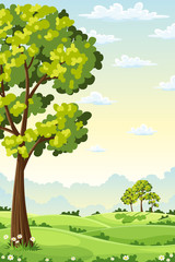 Wall Mural - Summer landscape with trees and hills. Vector Illustration.