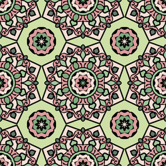 Tuinposter Marokkaanse Tegels Mandala seamless pattern with floral and geometrical ornament. Arabic, Islamic, indian, japanese motifs in a retro style.