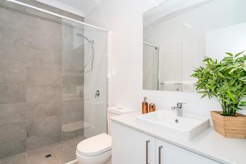 Large modern bathroom interior with luxury fittings.