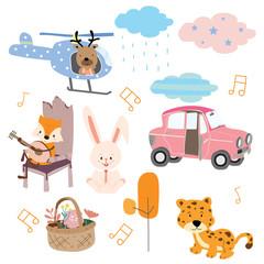 Cute orange pastel icon with fox,chair,car,guitar,leaf,flower,rabbit,tiger and rain