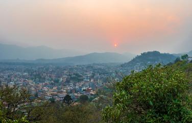 Beautiful sunset on March 25, 2018 in Kathmandu, Nepal.