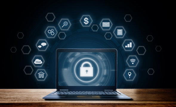 Cyber internet security system. Lock icon technology on computer laptop screen with application icons