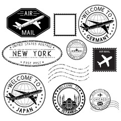 Travel stamps and postmarks. Collection