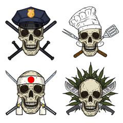 Set of four skulls, police man, chef, kamikaze and rastaman. Vector skull.