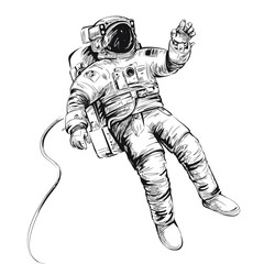 Cosmonaut or astronaut in spacesuit. Vector illustration isolated on white.