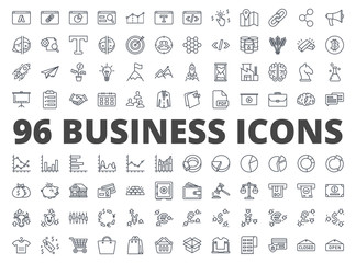 Business icon vector line pack