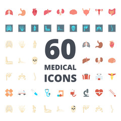 Medical medicine flat icon vector pack