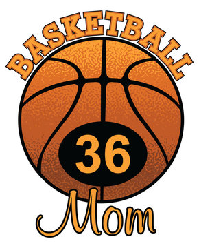 Basketball Mom With Number is an illustration of a stylized flat or spot color basketball Mom design with space for your child's number. Uses five colors.