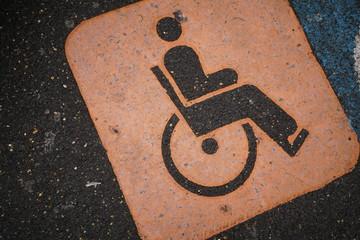 parking floor symbol for handicapped dedicated parking on asphalt