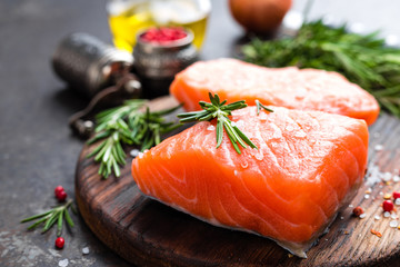 Salmon. Fresh salmon fish. Raw salmon fish fillet