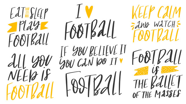 Set of football lover phrases on white