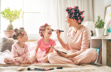 Mom and children doing makeup