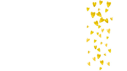 Heart Border Background With Gold Glitter Valentines Day Vector Confetti Hand Drawn Texture