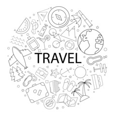 Vector travel pattern with word. Travel background