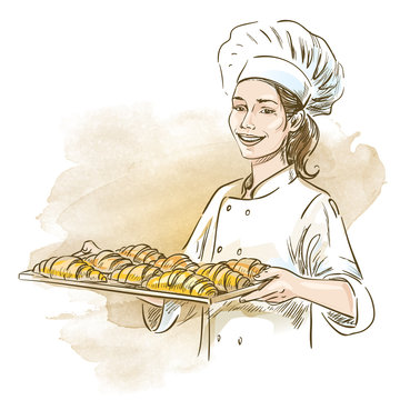 Smiling baker woman holding plate with croissants. Hand drawn vector illustration on artistic watercolor background.