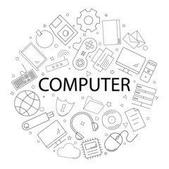 Vector computer pattern with word. Computer background