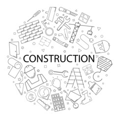 Vector construction pattern with word. Construction background