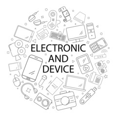 Vector electronic and device pattern with word. Electronic and device background