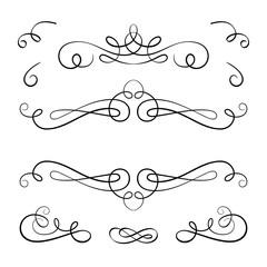 Scroll elements, set of vintage calligraphic vignettes