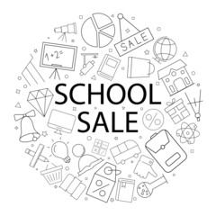 Vector school sale pattern with word. School sale background
